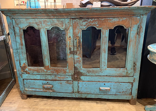 Indian Teak Blue Glass Fronted Low Cabinet