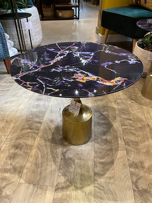 Gold Side Table with Glass Top