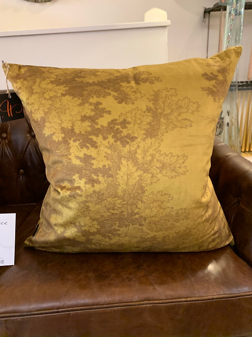 Ochre Woodlands Velvet Cushion