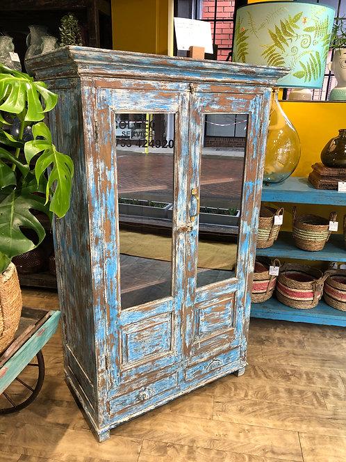 Blue Indian Teak Glass Front Cabinet