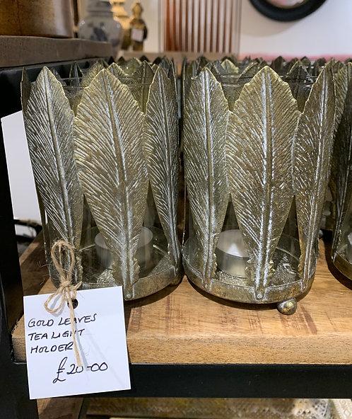 Gold Leaves Tea Light Holder