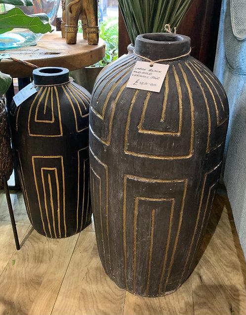 Black and Gold Ceramic Jars