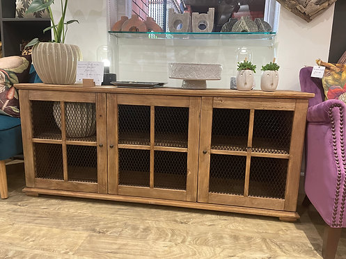 Reclaimed Pine Metal Fronted Cabinet