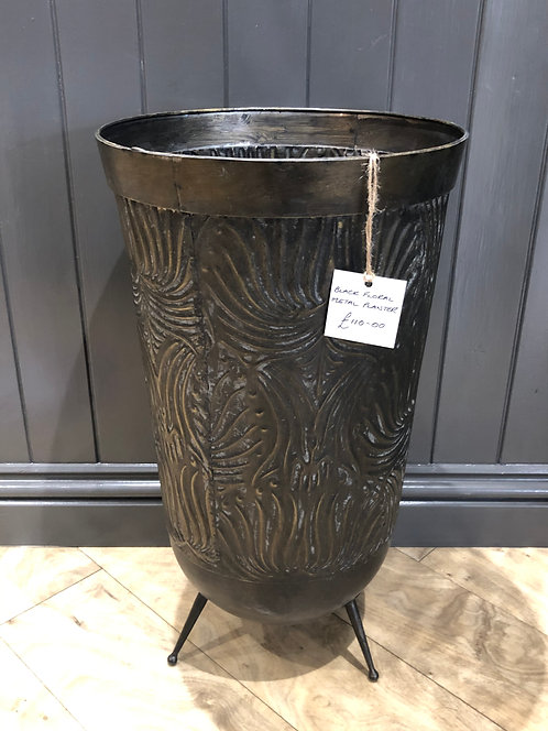 Black Floral Metal Planter