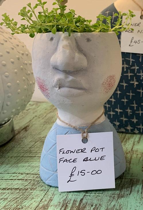 Flower Pot Face - Blue