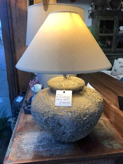 Small Indonesian Stone Lamp and Shade