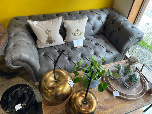 Grey Faux Leather Chesterfield Sofa