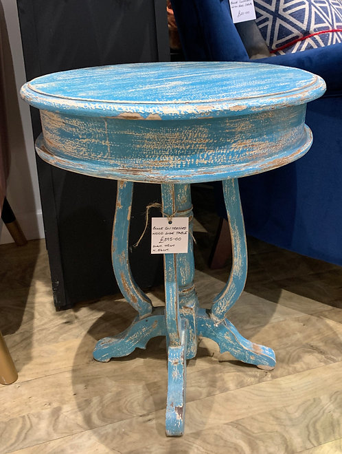 Blue Distressed Wooden Side Table