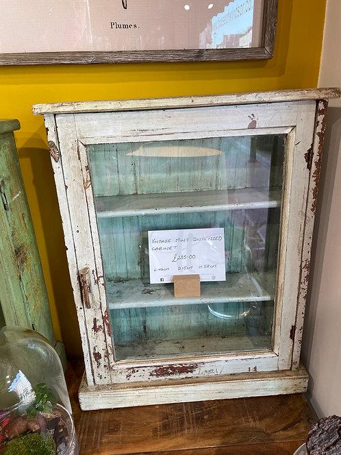 Vintage Mint Distressed Cabinet