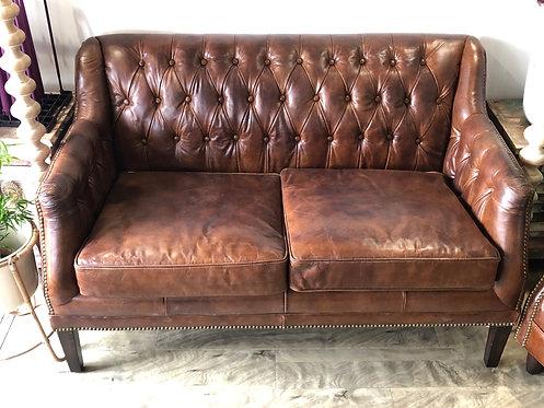 Vintage Cigar Leather Sofa