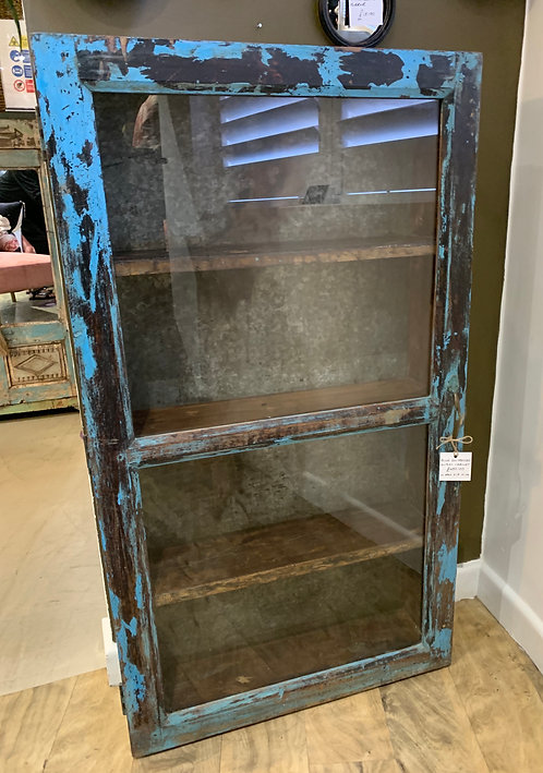Blue Distressed Display Cabinet