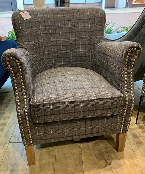 Grey Chequered Armchair