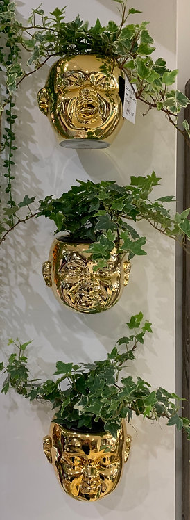 Baby Face Wall Pots Set (Gold)