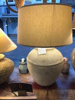 Medium Indonesian Stone Lamp with Shade