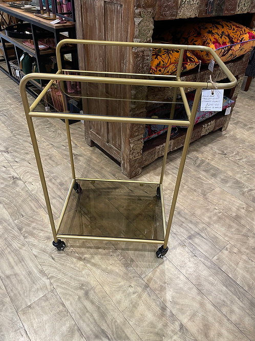 Gold Bar Trolley with Smoked Glass