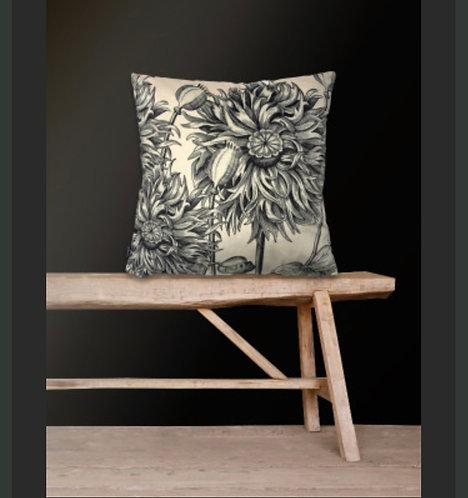 White Poppy Velvet Cushion