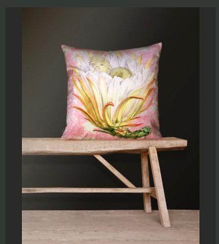 Pink Protea Velvet Cushion