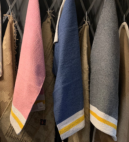 Cotton Rugs with Yellow Stripe
