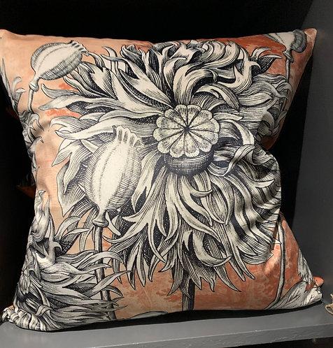 Coral Poppy Velvet Cushion