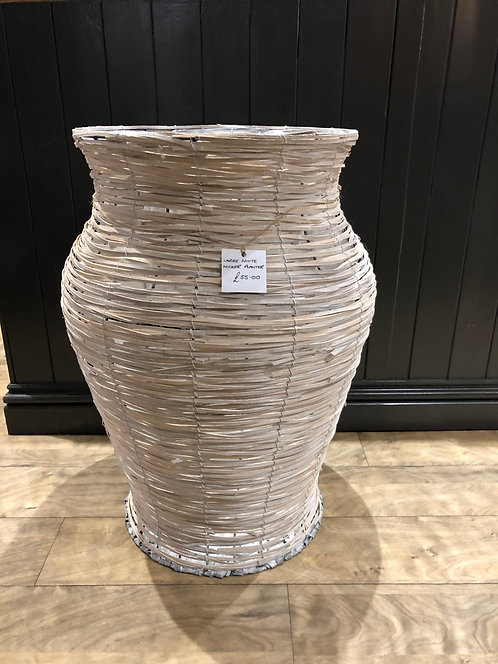 Large White Wicker Planter