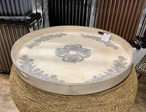 Round Cream Wooden Tray