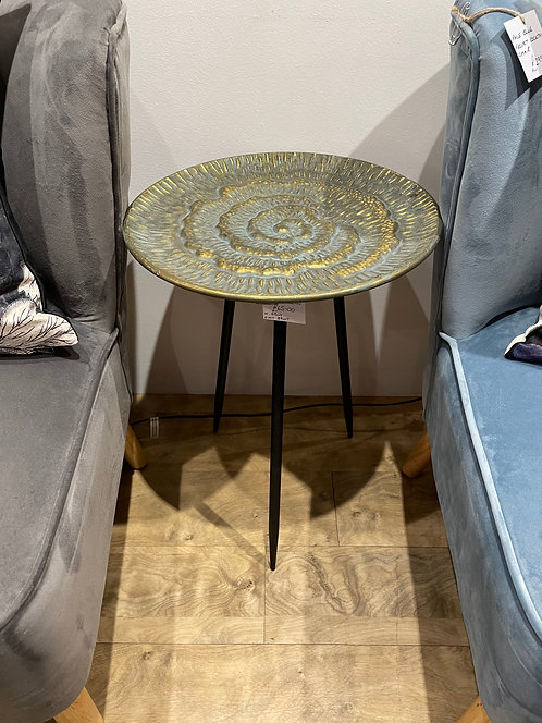Gold Metal SideTable with Black Legs