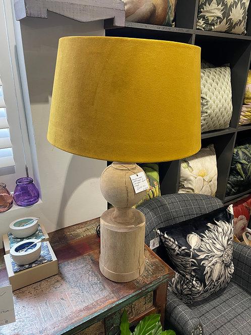 Mango Wood Lamp Base with Turmeric Velvet Shade