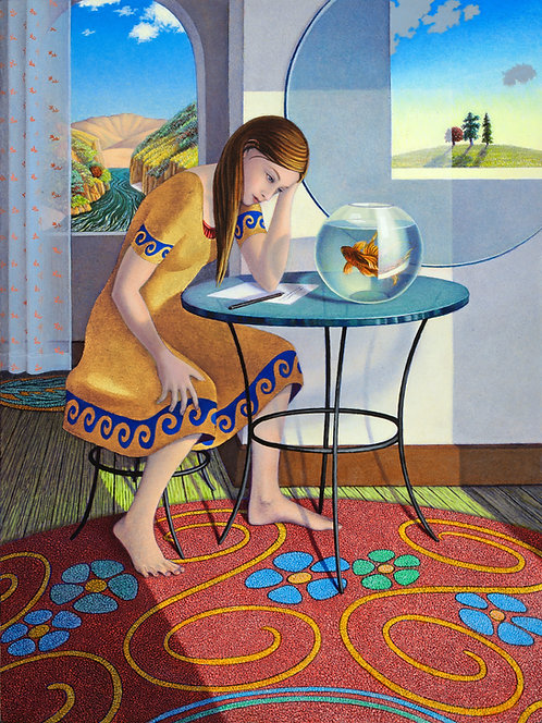 Writing with Goldfish, Original painting by Kristin Eames