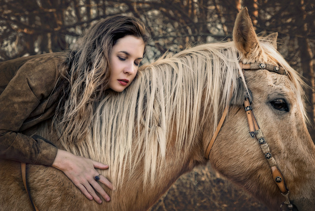 Horse and girl portrait