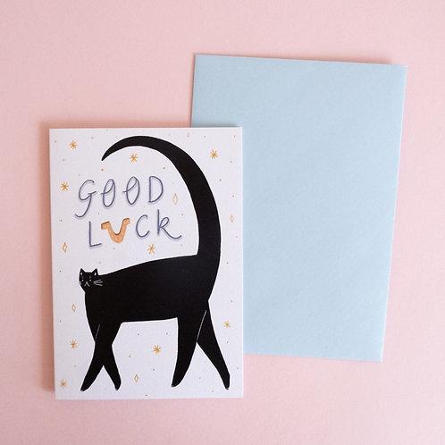 Good Luck Black Cat Card
