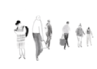 Reportage animated GIF. Commuters animation drawings of london euston station.
