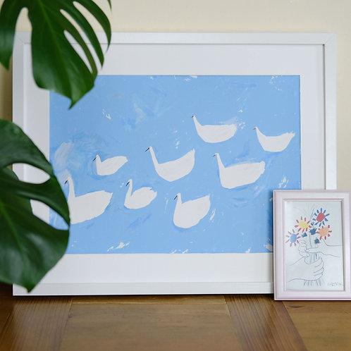 Delicate Swans Print