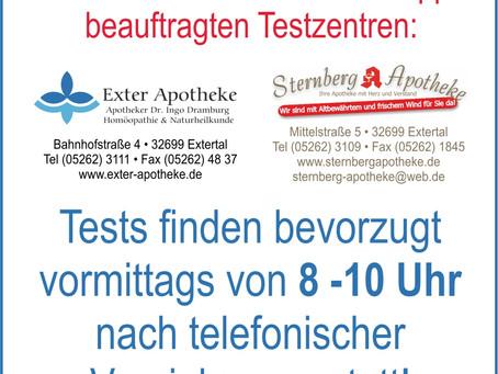 Extertals Testzentren seit 15.03.2021 geöffnet!