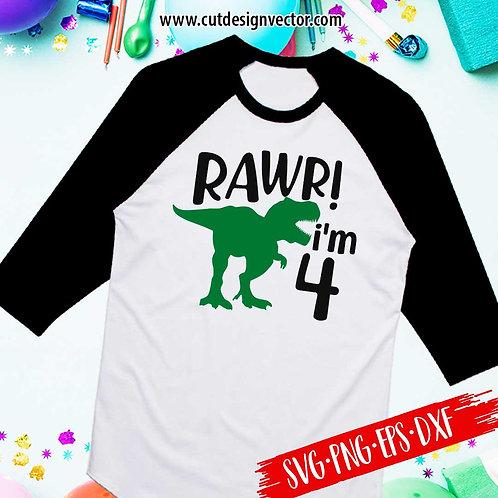 Rawr I'm Four SVG