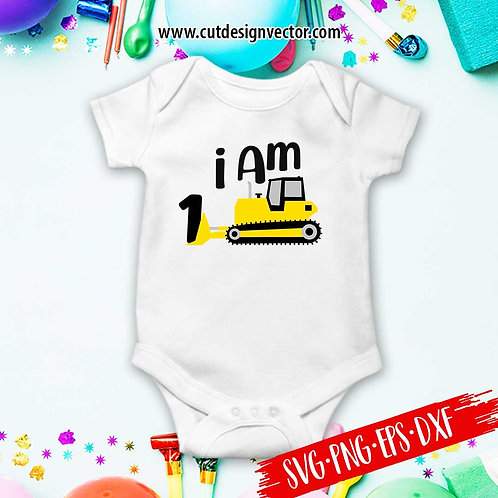 Bulldozer 1st Birthday SVG