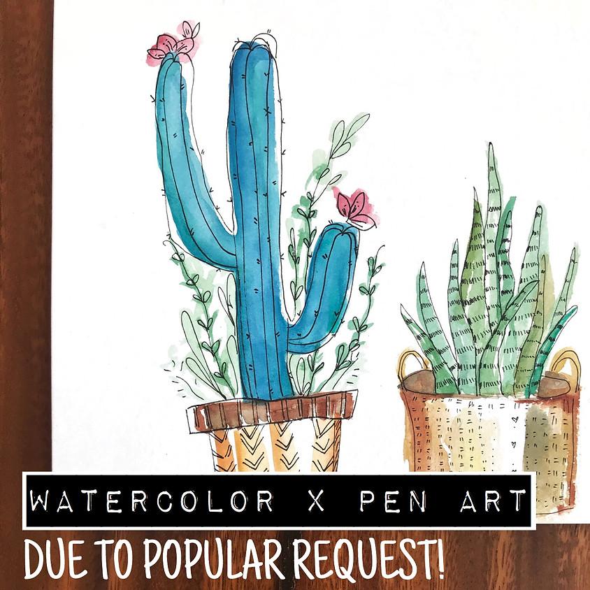 Watercolor Painting X Pen Art