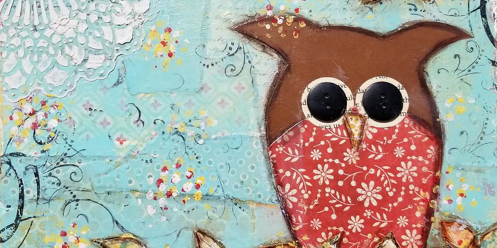 Mixed Media Owl Canvas