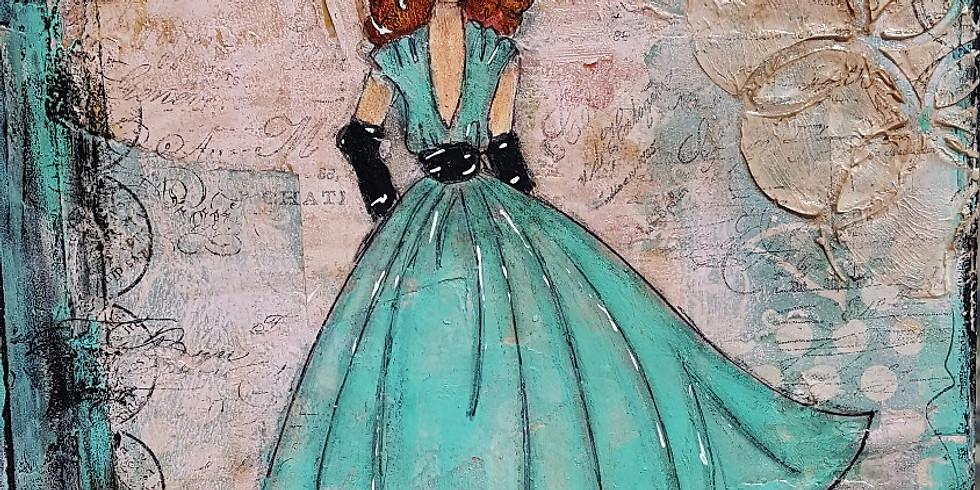 Vintage Girl Journal or Canvas