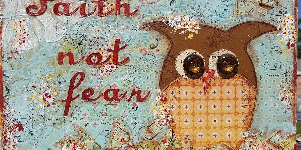 Mixed Media Owl Canvas  (1)