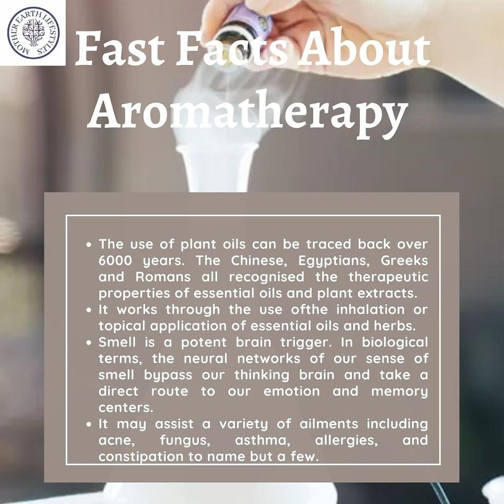 Smoking test tube with text describing the benefits of aromatherapy