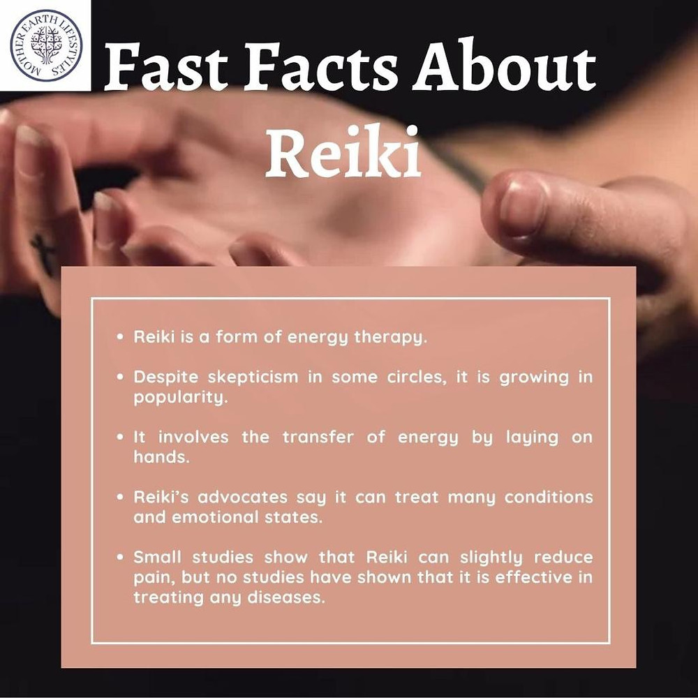 Pair of hands turned upwards with text giving fast facts about reiki by Mother Earth lifestyles