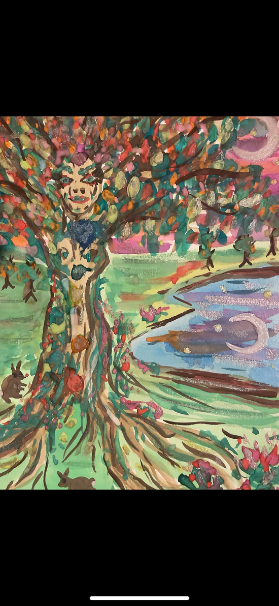 Colourful artwork of woman in tree owned by Mother Earth Lifestyles, created by Alice Grist artist.png