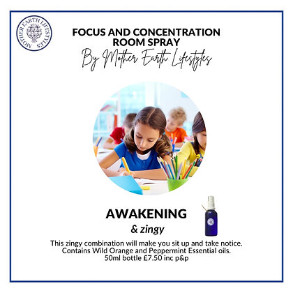 Focus & Concentration Room Spray by Mother Earth Lifestyles