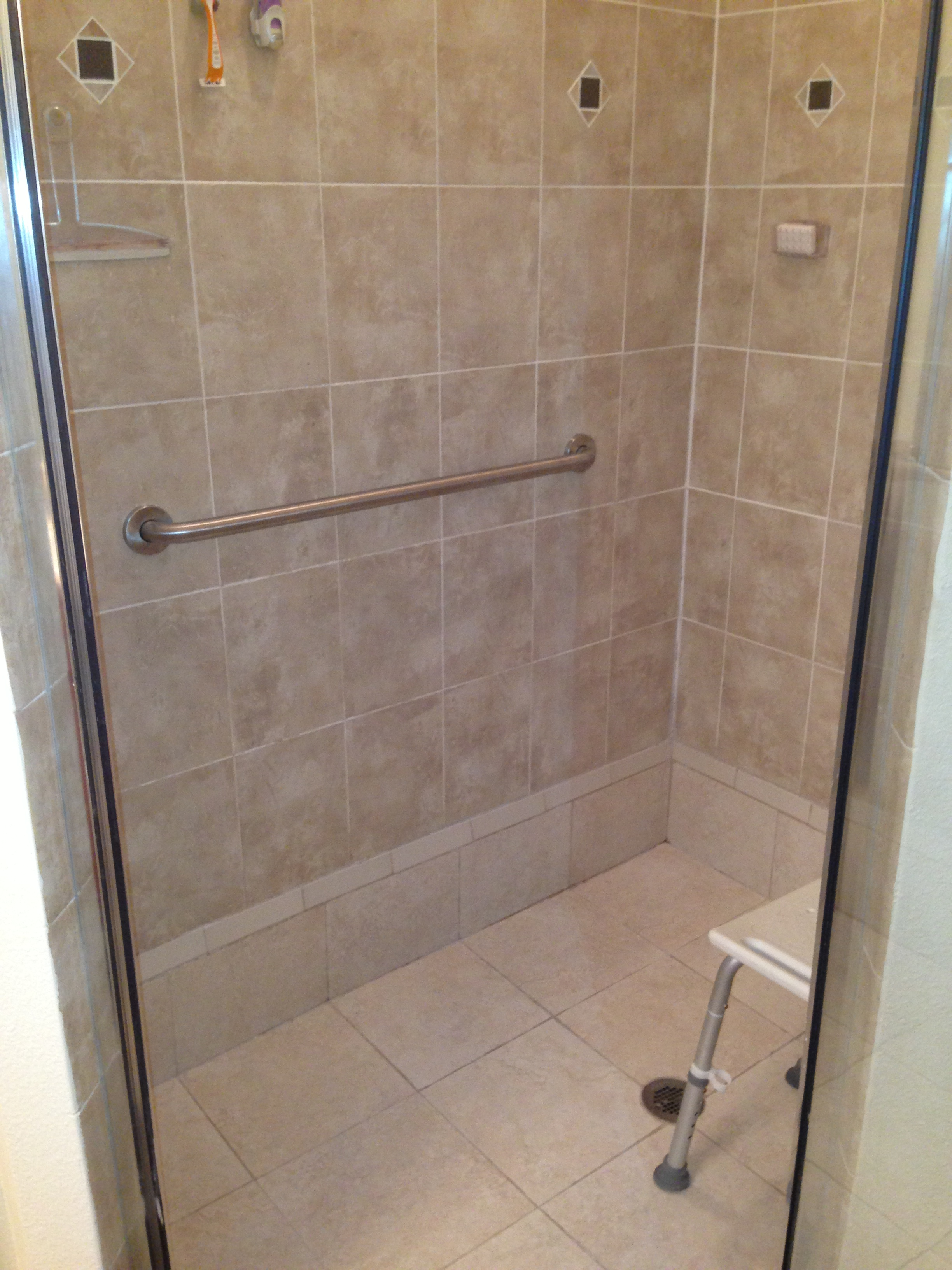 Grab Bar in Curb-less Shower