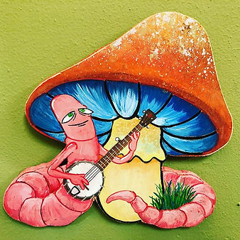 """Worm pickin' "" 10x10ish acrylic on wood"