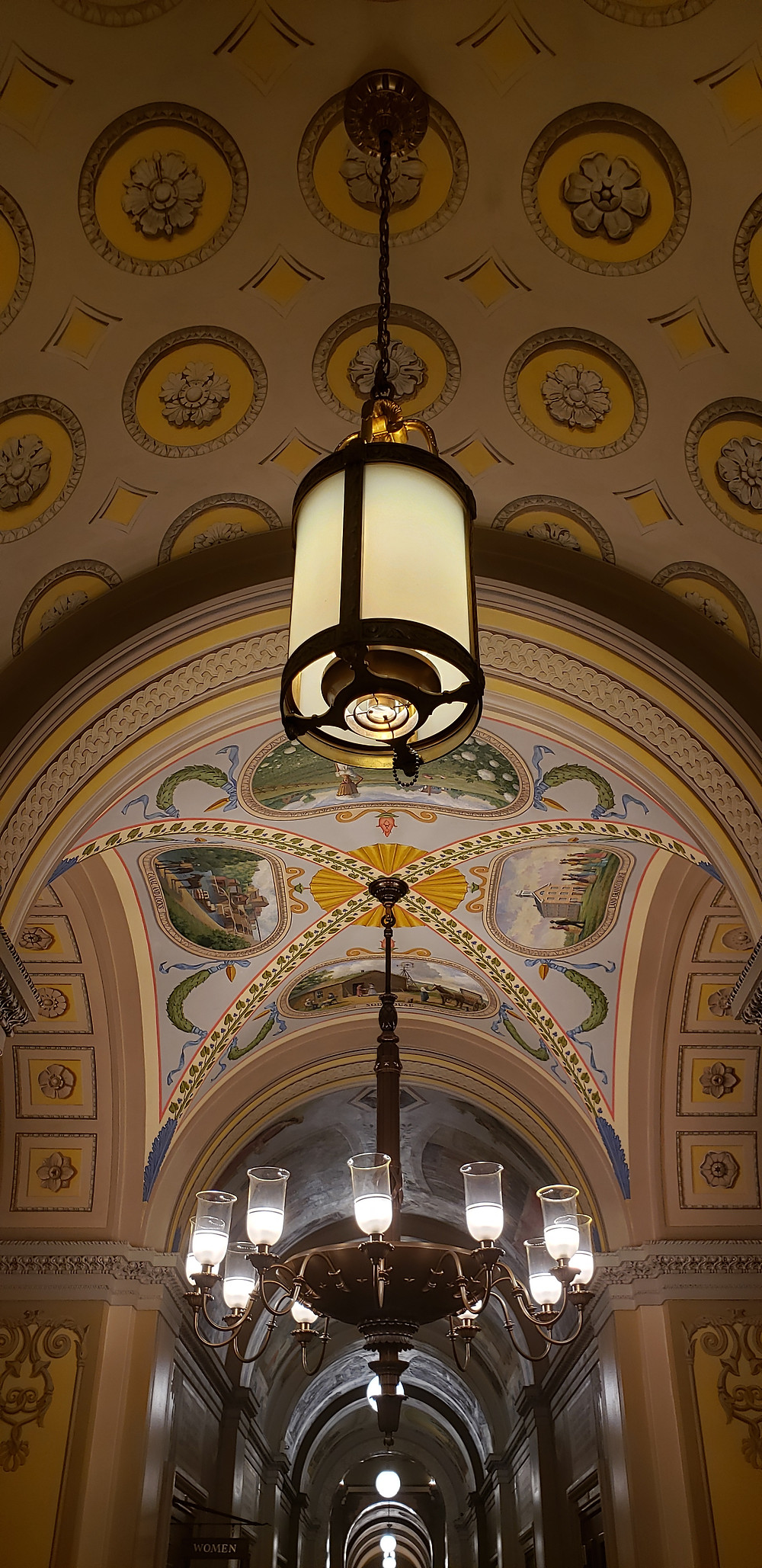 A painted hallway in the Capitol Building