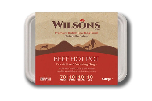 BEEF HOT POT PREMIUM RAW FROZEN DOG FOOD 500g