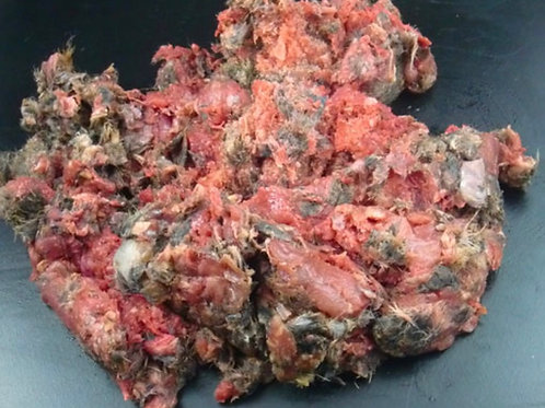1KG wild gutted rabbit minced in fur single protein