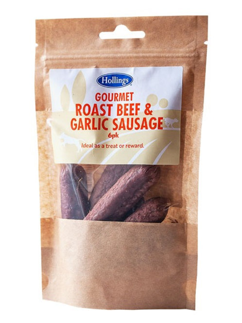 Roast beef and garlic sausages