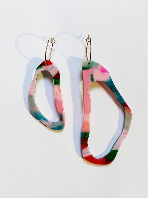 Asymmetrical oval earrings- pink